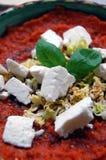 Salsa al pomodoro fresca con le foglie del basilico ed il formaggio di capra fotografia stock libera da diritti