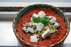 Salsa al pomodoro fresca con le foglie del basilico ed il formaggio di capra immagini stock libere da diritti
