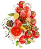 Salsa al pomodoro naturale ed ingredienti freschi Fotografie Stock