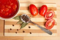 Salsa al pomodoro, pomodori freschi e quattro spezie sul cucchiaino Immagini Stock