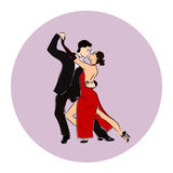 Salsa or argentine tango dancing couple man and woman in vector. International tango day Stock Photography