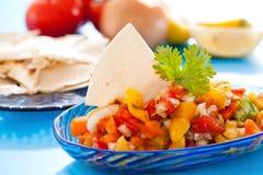 Salsa avec des puces de tortilla photo stock