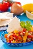 Salsa avec des puces de tortilla photographie stock