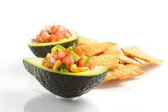 Salsa in Avocado Stock Photo