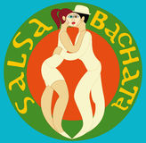 Salsa bachata. Vector illustration Couple dancing salsa or bachata Stock Photos