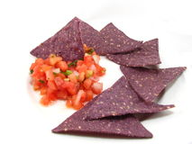 Salsa with Blue Chips Royalty Free Stock Photos