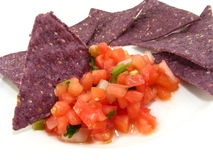 Salsa with Blue Chips Royalty Free Stock Image