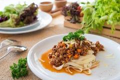 Salsa bolongnese del manzo della pasta Immagine Stock Libera da Diritti