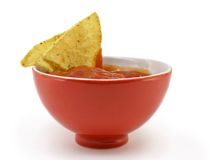 Salsa and chips. Isolated on white background royalty free stock image