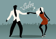 Salsa in the City. Silhouettes of young couple dancing latin music. Vector Illustration Royalty Free Stock Photos