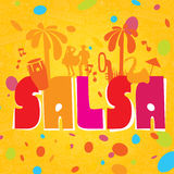 Salsa colorful lettering with confetti, palms, music. Stock Image