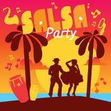 Salsa colorful lettering with confetti, palms, music Stock Photos