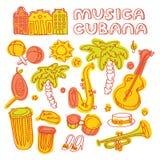 Salsa cuban music and dance illustration with Stock Photos