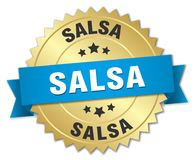Salsa 3d gold badge. With blue ribbon Stock Images
