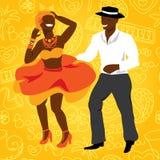 Salsa dancers. Cuban couple dance salsa Royalty Free Stock Photos