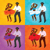 Salsa dancing poster for the party. Cuban couple, palms, musical instruments. Vector illustration and design element Royalty Free Stock Images