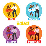 Salsa dancing poster for the party. Cuban couple, palms, musical instruments. Vector illustration and design element stock illustration