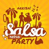 Salsa dancing poster for the party. Cuban couple, palms, musical instruments. Vector stylish illustration and design element Stock Images