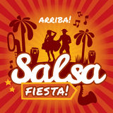 Salsa dancing poster for the party. Cuban couple, palms, musical instruments. Vector stylish illustration and design element royalty free illustration