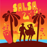 Salsa dancing poster for the party. Cuban couple Stock Image