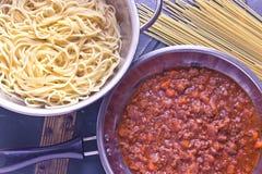 Salsa de boloñés del espagueti Imagen de archivo libre de regalías