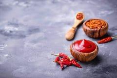 Salsa de chile con pimientas secadas Fotos de archivo