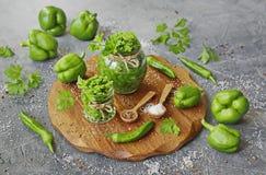Salsa de chile verde picante hecha en casa en un tarro de cristal imágenes de archivo libres de regalías