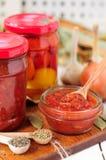 Salsa de enlatado de Marinara, cotos del tomate Foto de archivo