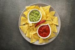 Salsa de guacamole et de tomate Photographie stock