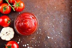 Salsa de la salsa de tomate de tomate con ajo, especias e hierbas con la cereza t Imagenes de archivo