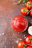 Salsa de la salsa de tomate de tomate con ajo, especias e hierbas con la cereza t Imágenes de archivo libres de regalías