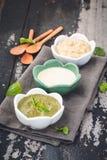 Salsa de las inmersiones con la salsa del rancho, Mayo Sauce, Basil Sauce foto de archivo