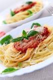 Salsa de las pastas y de tomate Foto de archivo libre de regalías