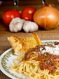 Salsa de los espaguetis y de la carne imagen de archivo libre de regalías