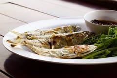 Salsa de pescados, verduras dulces y hojas del neem Imágenes de archivo libres de regalías