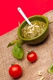 Salsa de Pesto del italiano Imágenes de archivo libres de regalías