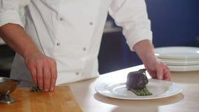 Salsa de riego de la carne del cocinero almacen de metraje de vídeo