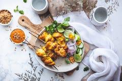 Salsa de Satay o salsa de los cacahuetes para el pollo Satay imagen de archivo