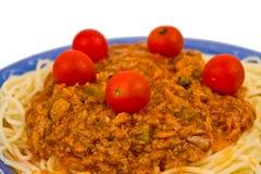 Salsa de tomate con los tomates de las pastas y de cereza Fotografía de archivo