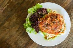 Salsa de tomate de los espaguetis fotografía de archivo