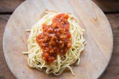 Salsa de tomate de los espaguetis imagen de archivo libre de regalías