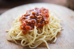 Salsa de tomate de los espaguetis imagen de archivo