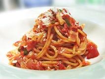 Salsa de tomate del tocino de los espaguetis Imagen de archivo libre de regalías