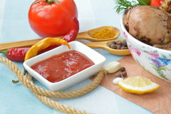 Salsa de tomate en la pequeña placa, especias, sazonando cerca para arriba Imagen de archivo libre de regalías