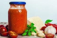 Salsa de tomate de Formaggio di Pecora del al de Salsa di Pomodoro con el pecorino del queso de las ovejas imagen de archivo libre de regalías
