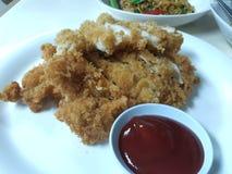 Salsa de tomate de Fried Chicken With en un plato blanco foto de archivo libre de regalías