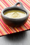 Salsa de Tomatillo en plato colombiano de la arcilla imagen de archivo