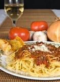Salsa del espagueti y de la carne imagen de archivo libre de regalías