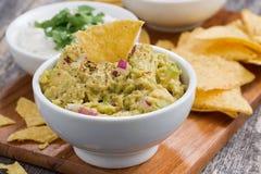 Salsa del guacamole, salsa del pomodoro e patatine fritte di cereale Fotografia Stock