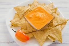 Salsa del Habanero, habaneros di salsa de chiles, alimento messicano dei peperoncini caldi maturi piccanti del habanero nel Messi Fotografia Stock